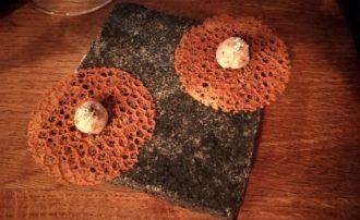 Mousse de champignon sur tuile de champignon
