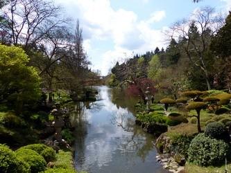 Cours d'eau calme dans le parc japonais de Maulévrier