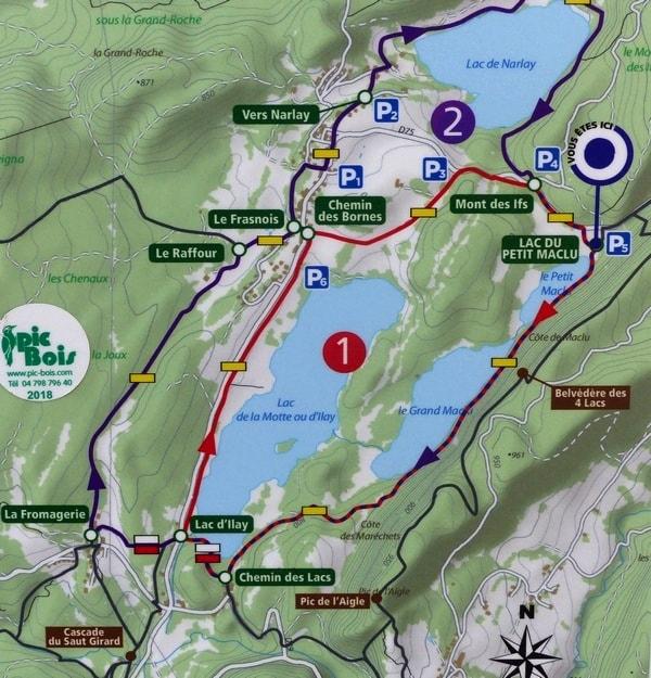 Plan du tour des 4 lacs dans le Jura